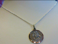 Silver Bevelled Saint Christopher Necklace